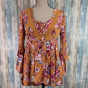 Signature Studio Floral Boho 3/4 Sleeve Blouse